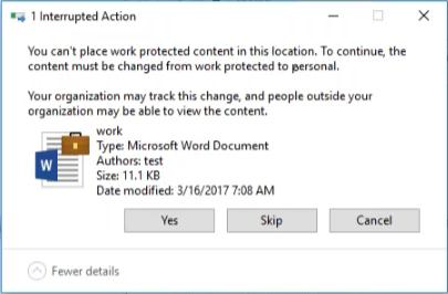 Slika 4: WIP sporočilo ob kopiranju